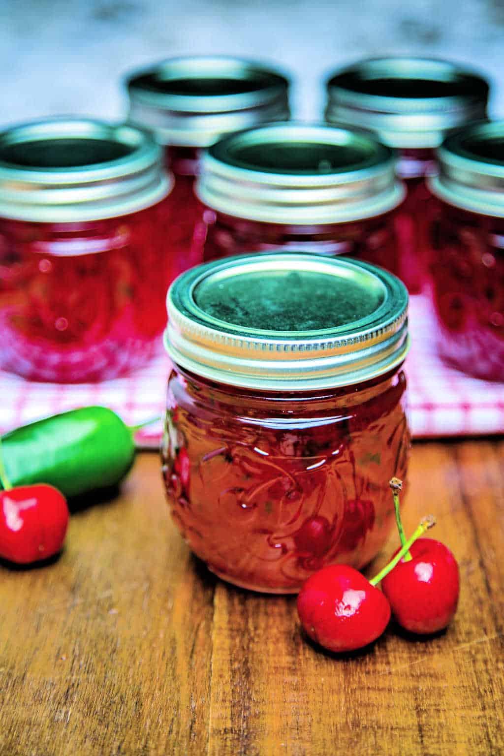 hot cherry pepper jelly in jars