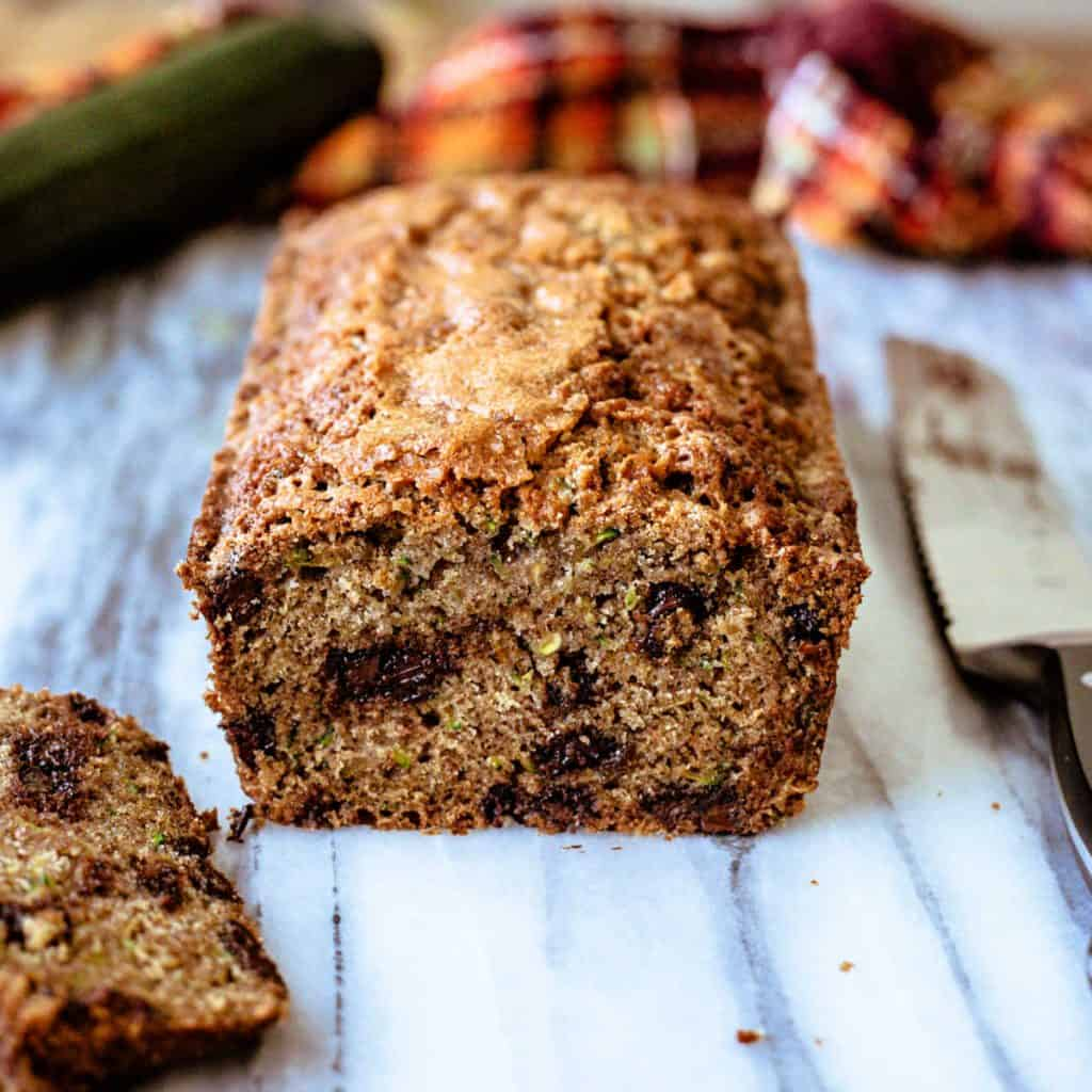 chocolate chip Zucchini Bread on a marble board