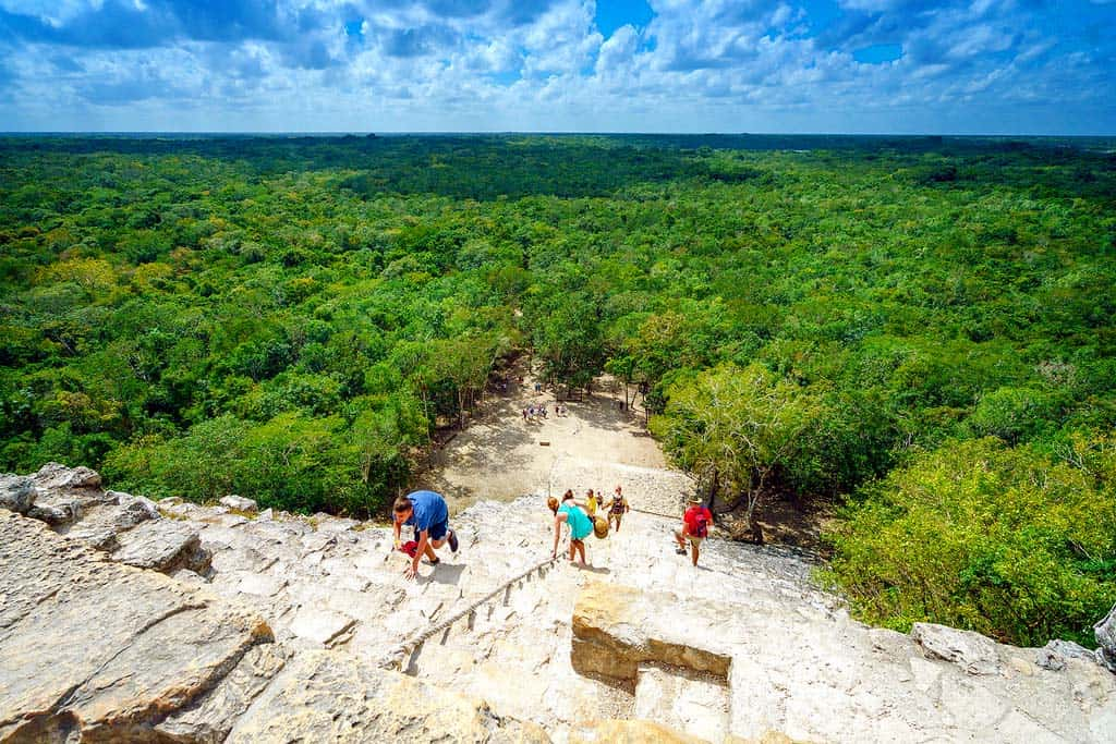 Things to doin Tulum, Mexico: Visit themayan ruins  of Cobá - The view from the top of the pyramid is breathtaking
