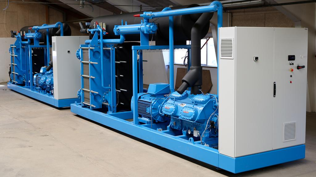 Blue water cooled chiller for service maintenance and repair