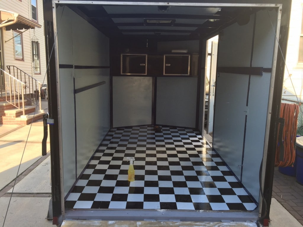 peel and stick tile for motorcycle trailer