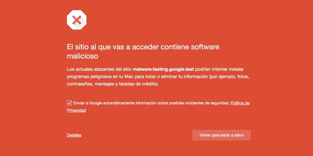 Sitio web inseguro