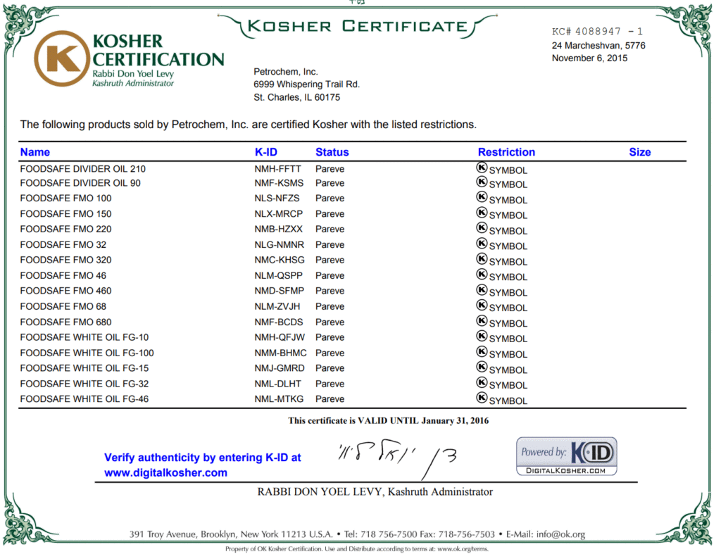 Kosher Certified for Petrochem Lubricants / Oil