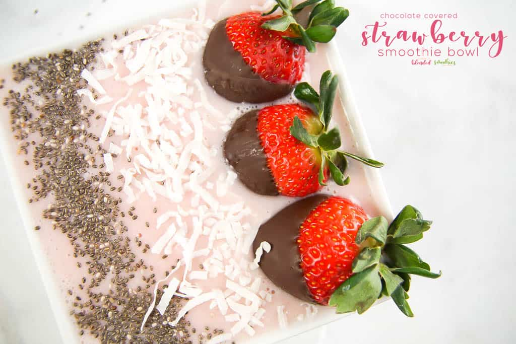 Chocolate Covered Strawberry Smoothie Bowl - a delicious smoothie bowl with a hint of chocolate
