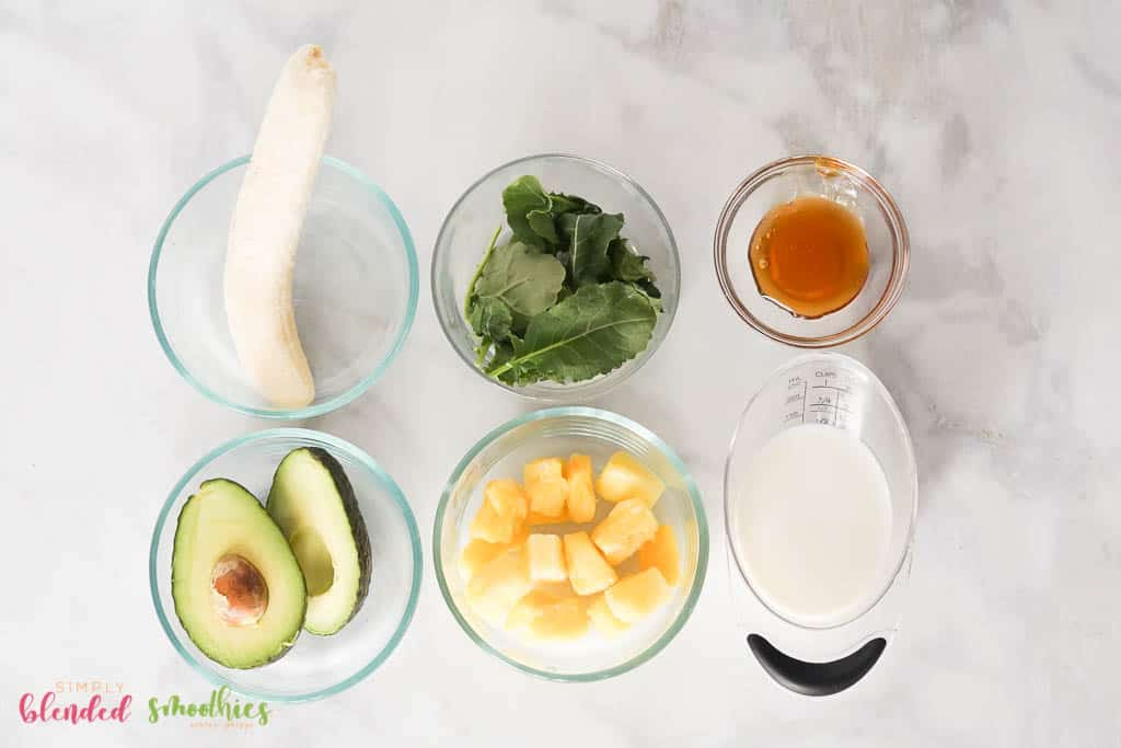 Avocado Green Smoothie Bowl ingredients