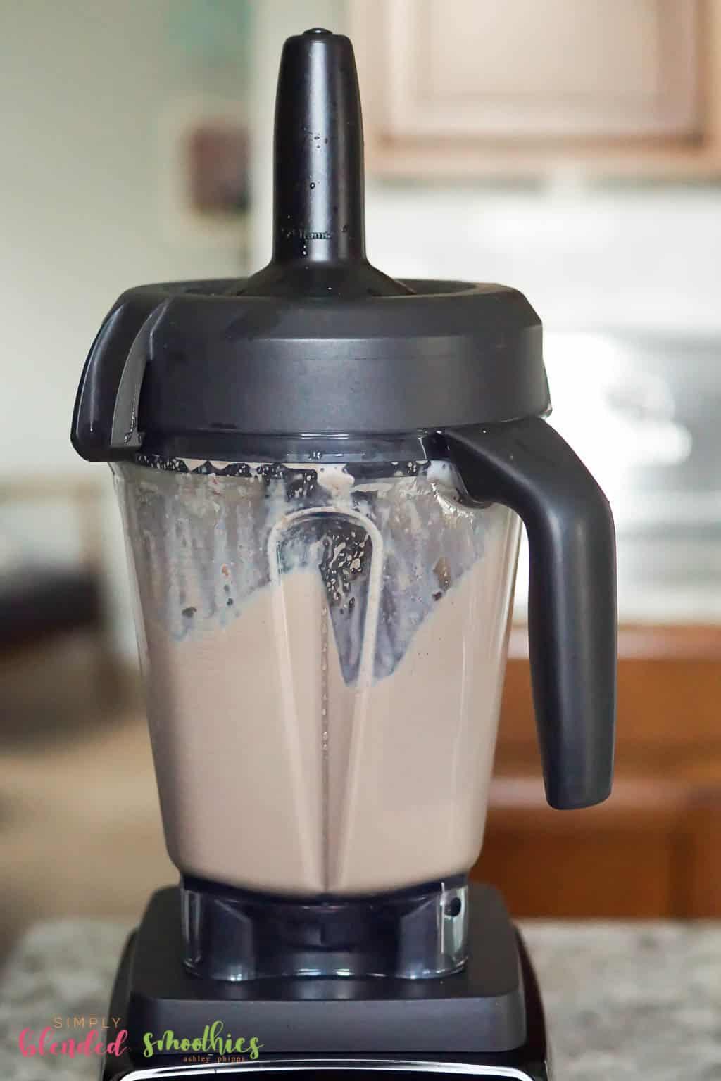 blend chocolate shake ingredients in a blender