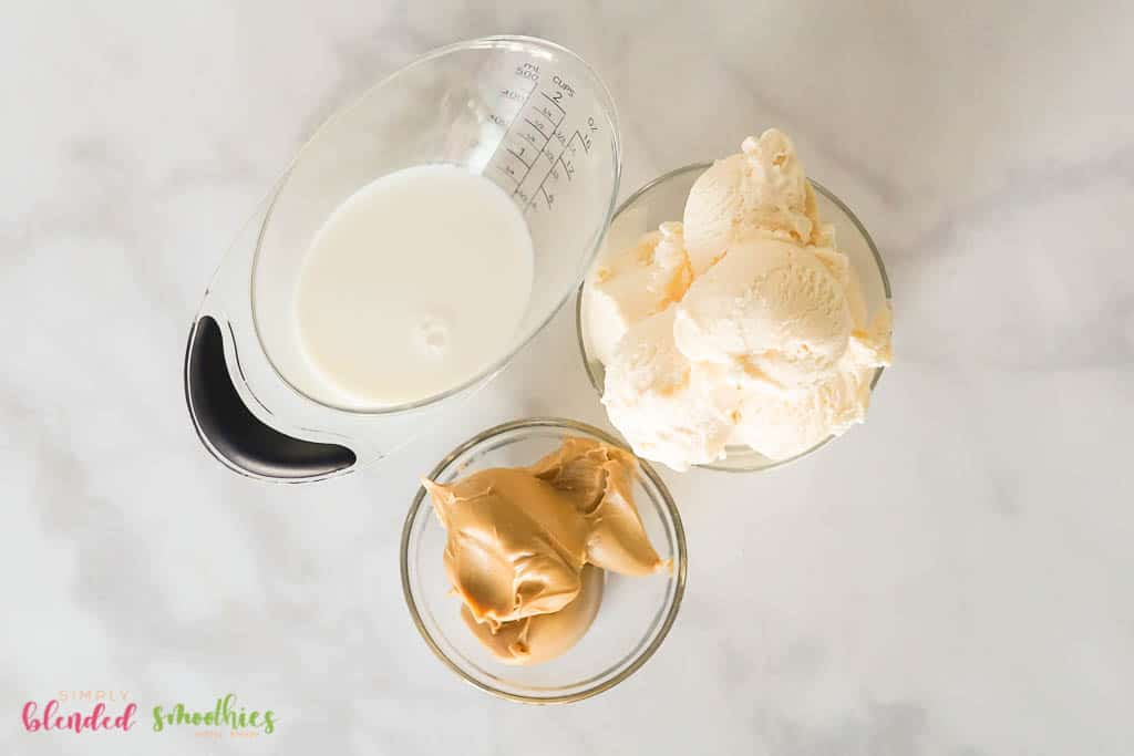 Ingredients to make a Peanut Butter Milkshake