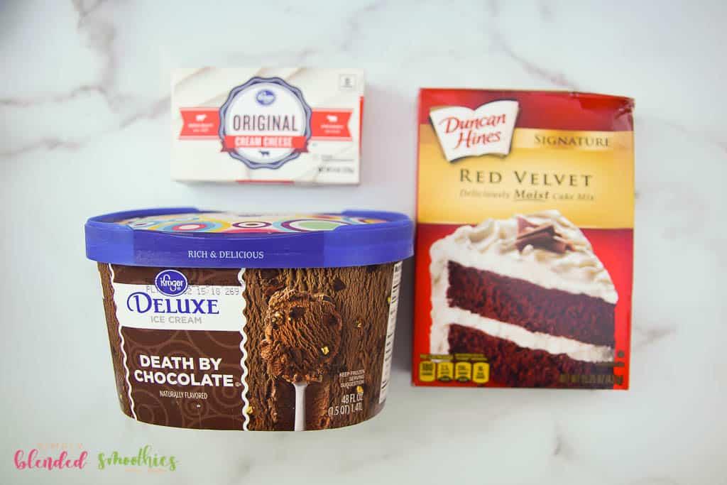 ingredients for red velvet shake