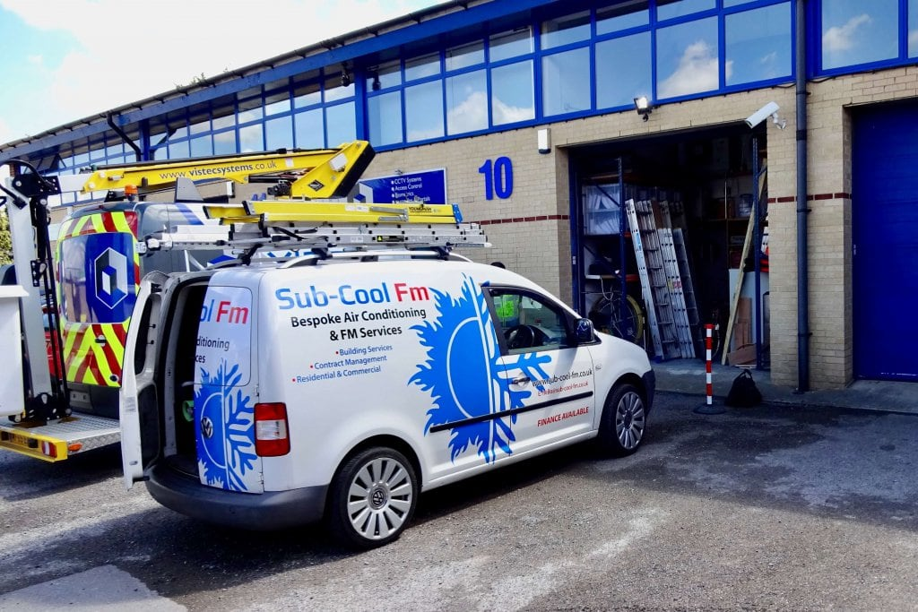 A Sub-Cool FM branded van outside an industrial business unit