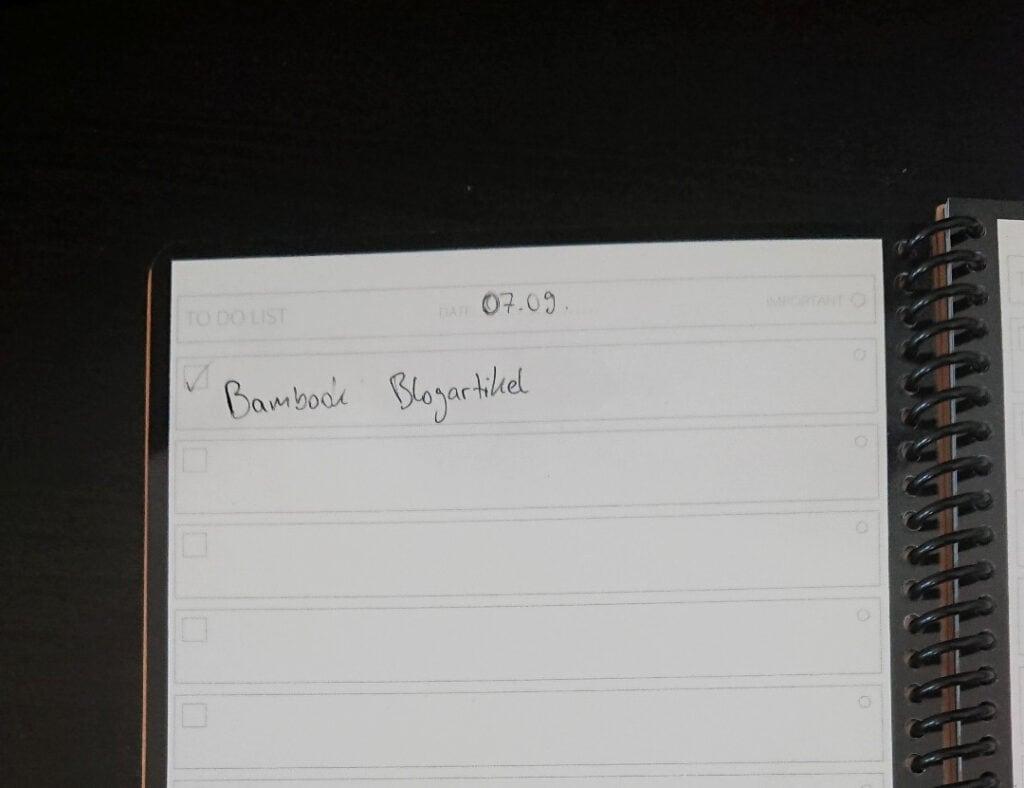 Die Todo-Liste im Do-Book von Bambook