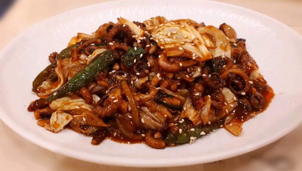 A korean Spicy stir Fried Octopus called Nakji-bokkeum found in Chosun Galbi Cebu