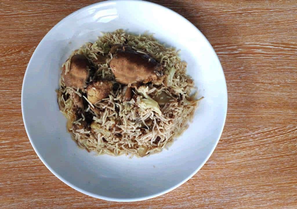 Chicken Maqluba Recipe in a plate