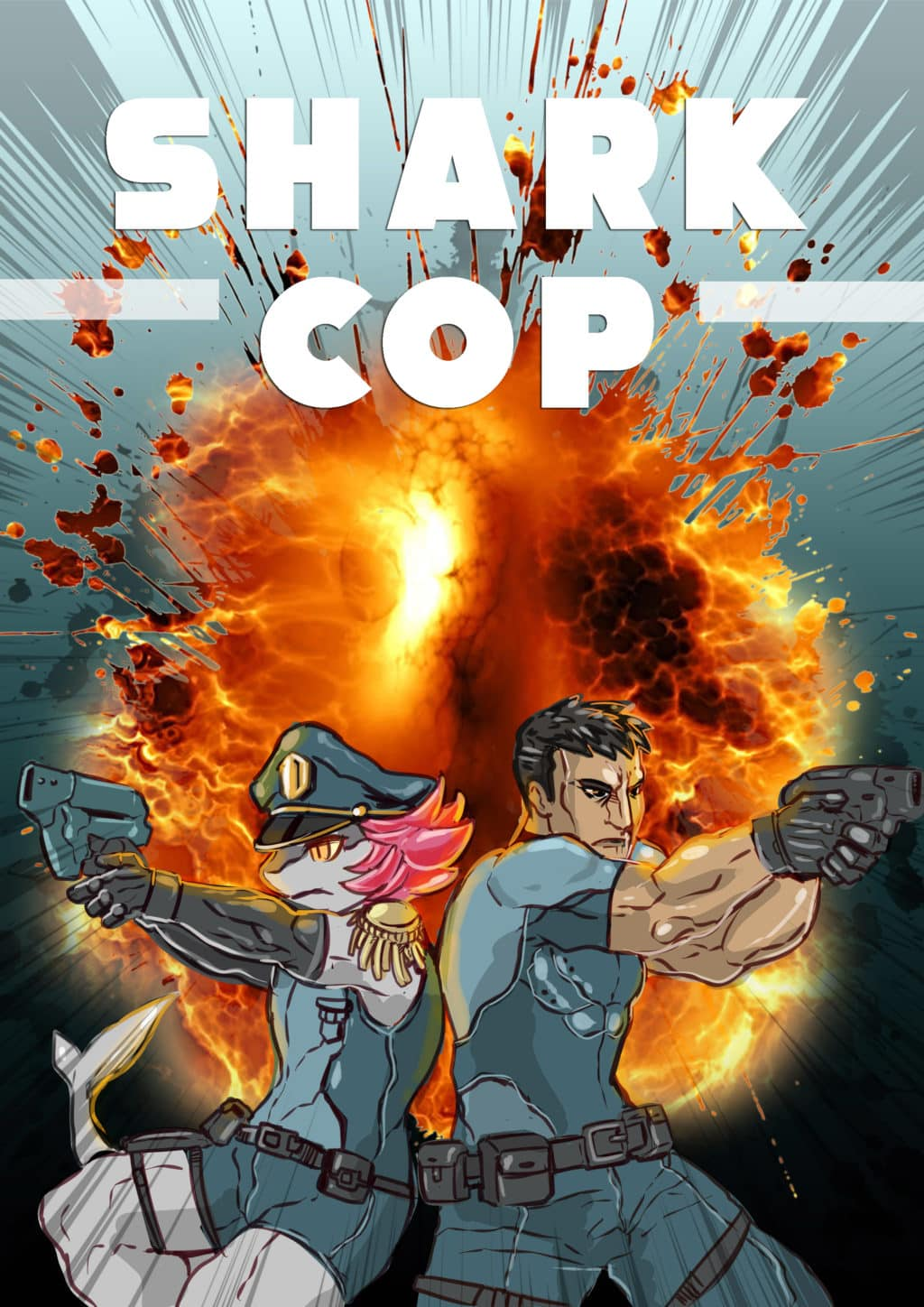 movie poster for shark cop - a buddy cop duo in the far future