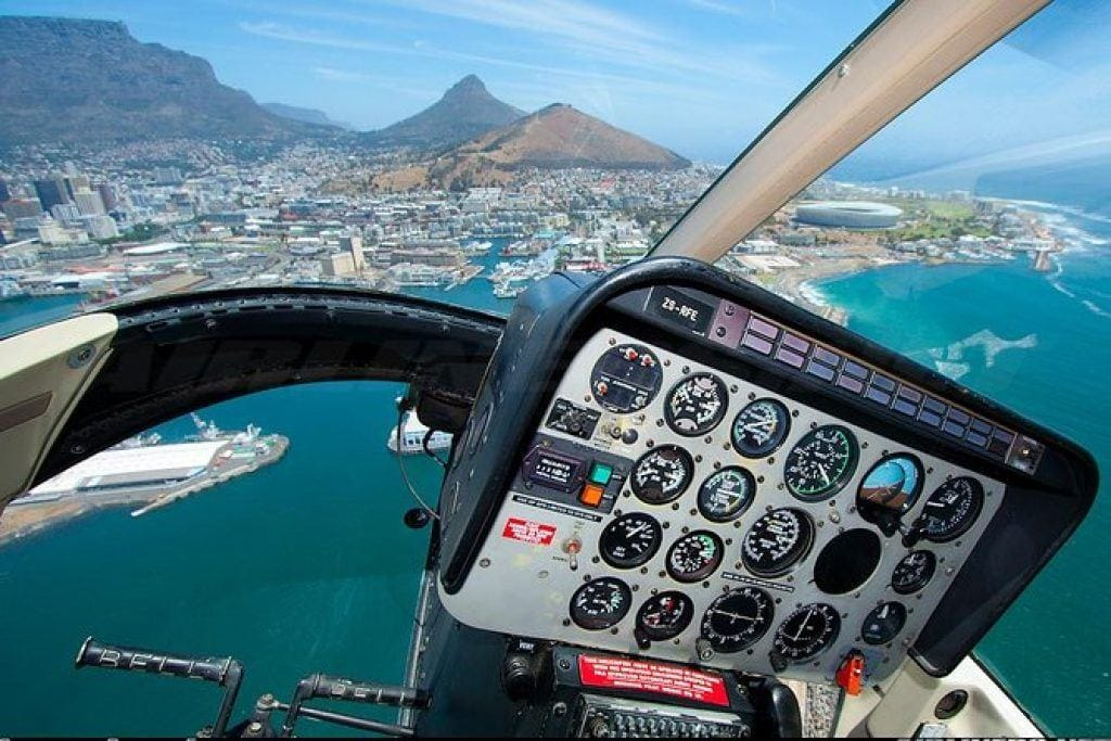 view of Cape Town from inside helicopter