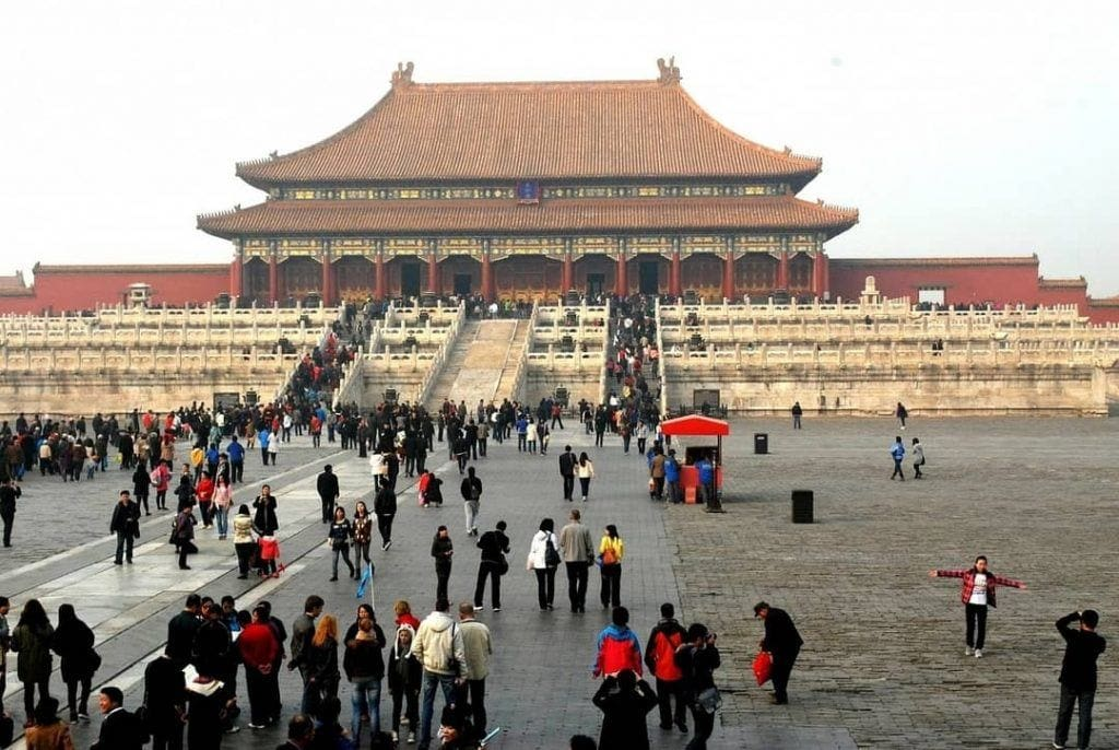 Tiananmen Square with Tourists admiring the Forbidden City