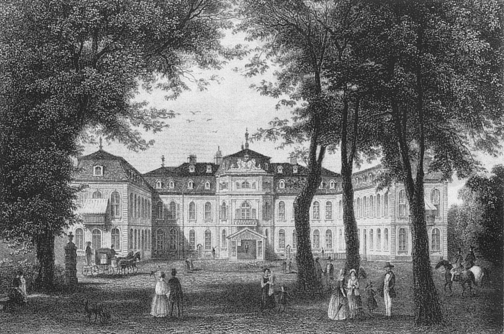 Stahlstich von Schloss Jägerhof in Düsseldorf, ca. 1860, heute Sitz des Goethe-Museums