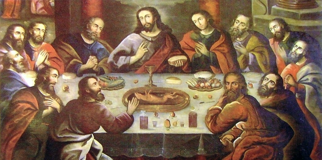 Photo of The Last Supper painting in the rustic Spanish Colonial style. On the table surrounded by Jesus and his 12 disciples, a guinea pig lies on a golden platter with paws in the air.