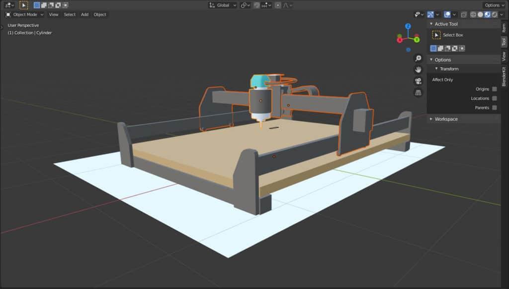 Entwurf der Maschine in 3D für den Erklärfilm.