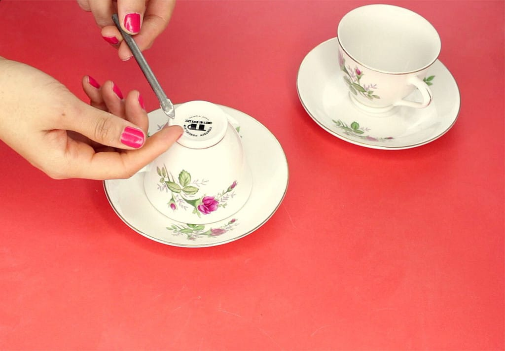 Blumentopf Tasse aus Teetassen - Porzellan bohren
