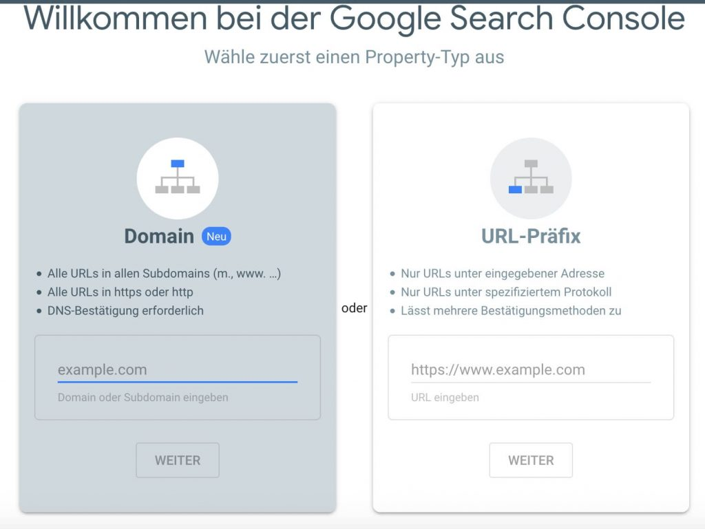 Ansicht Search Console nach erstem Login