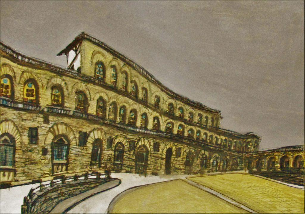Florencia IV. Palazzo Pitti. Tinta, acuarela y acrílico sobre papel, 21 x 30 cm. 2016.