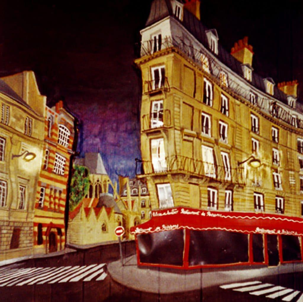 París, Quartier Latin. Cartón, plástico, luces, cola, alambre, pigmentos metálicos y óleo sobre tabla, 1 x 1 m. 2005.
