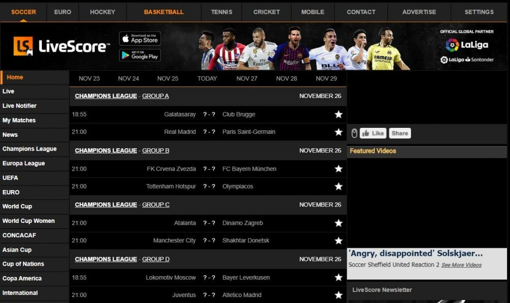 livescore results for betting