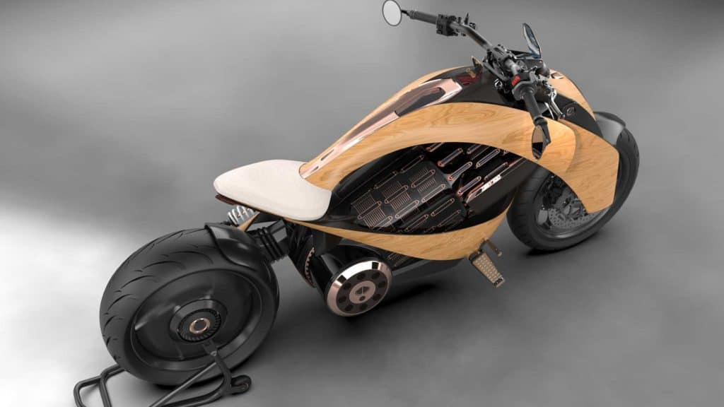 Electric Motorcycle with Wooden Body
