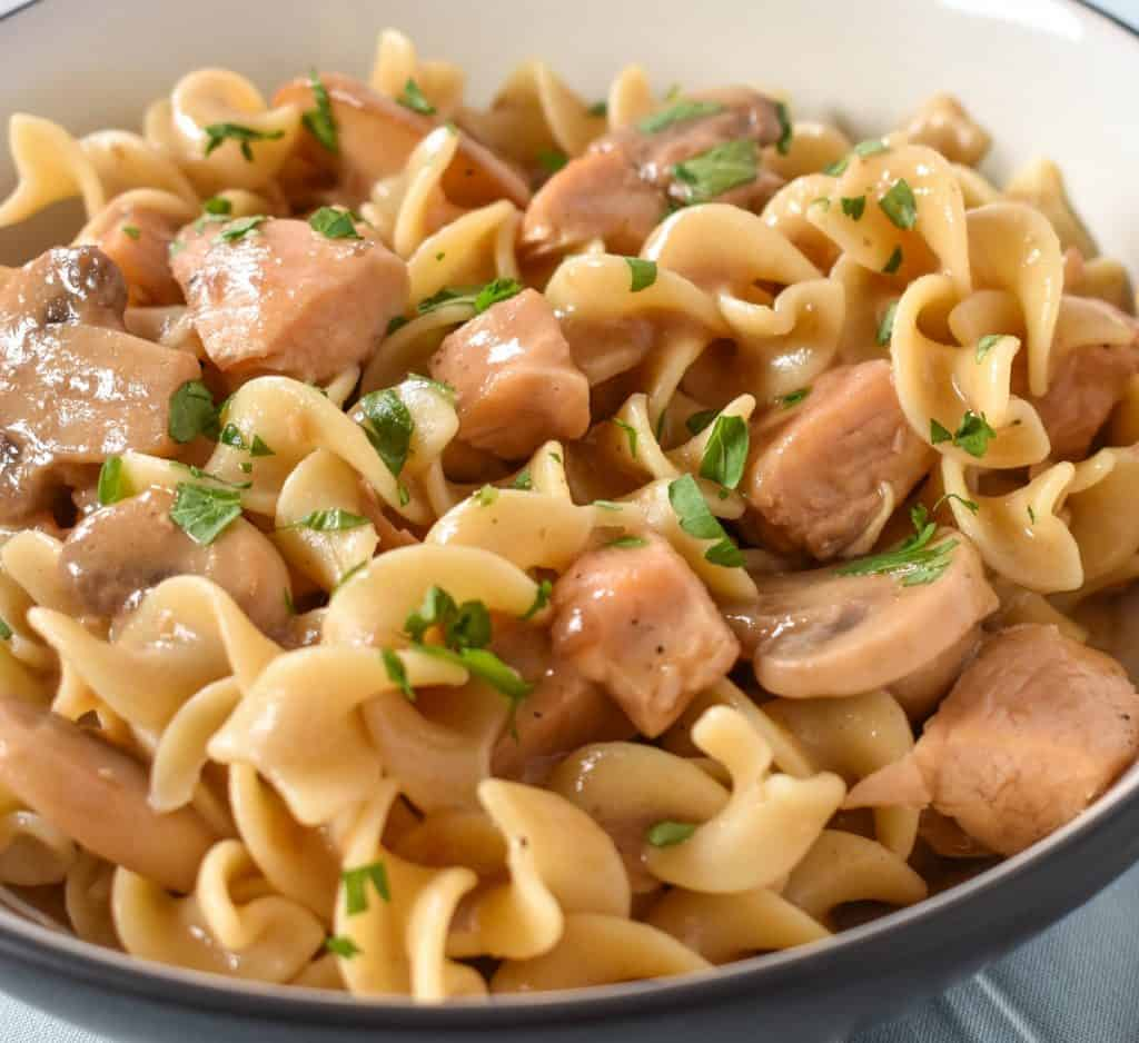 A close up image of egg noodles, cubed chicken and mushrooms.