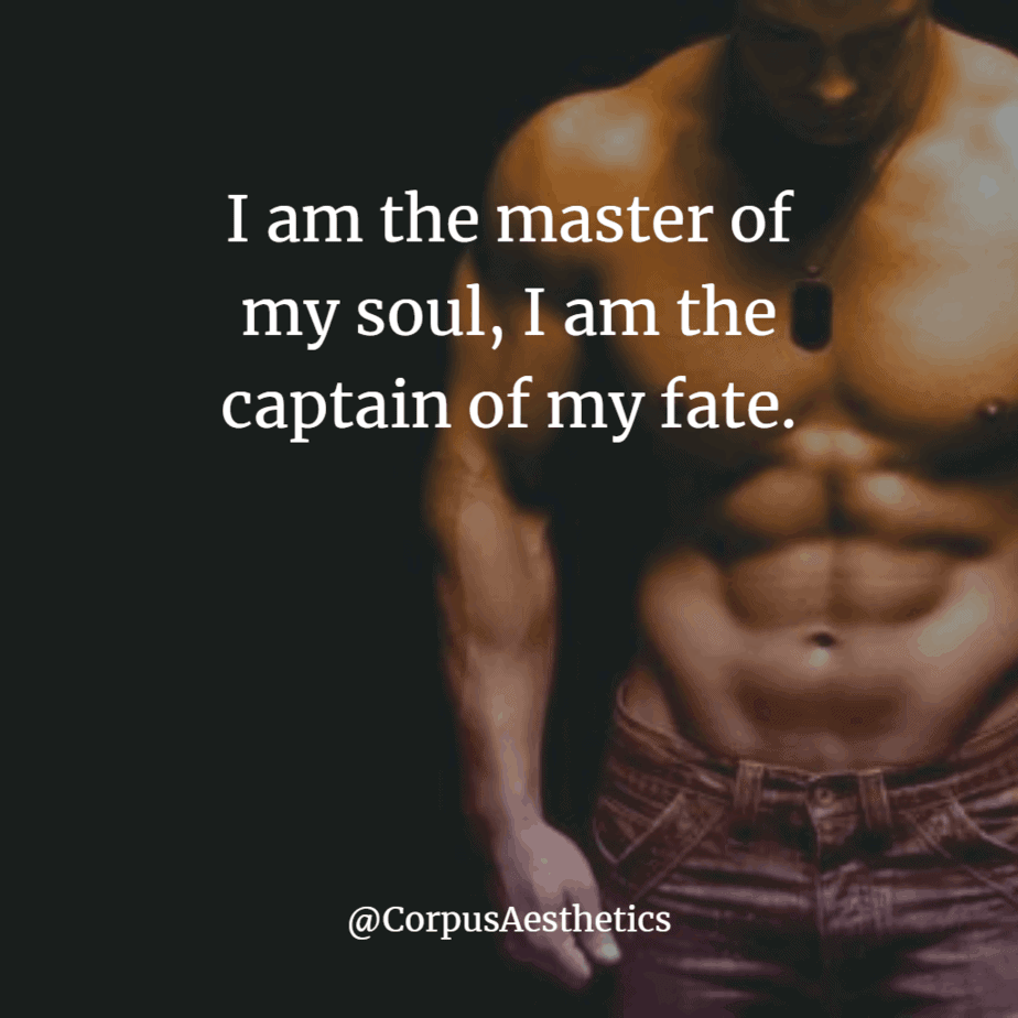 gym inspirational quote, I am the master of my soul, I am the captain of my fate, this is a muscle-bound guy