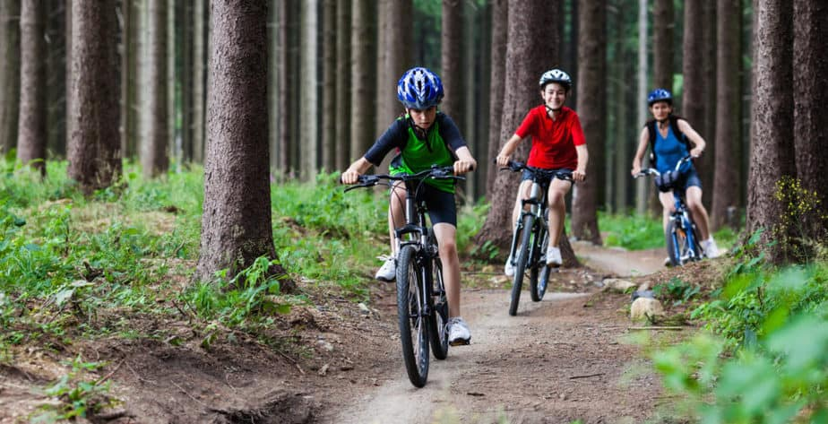 One of the outdoor activities: Cycling in the wood with friends or family