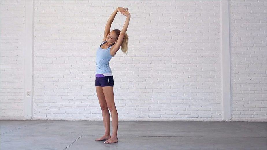 A girl is stretching