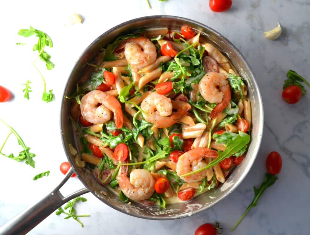 Creamy Shrimp Pasta with Tomatoes and Arugula | Delish D'Lites