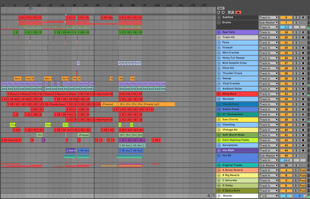 Ableton Live Project Lots Of Channels and Tracks