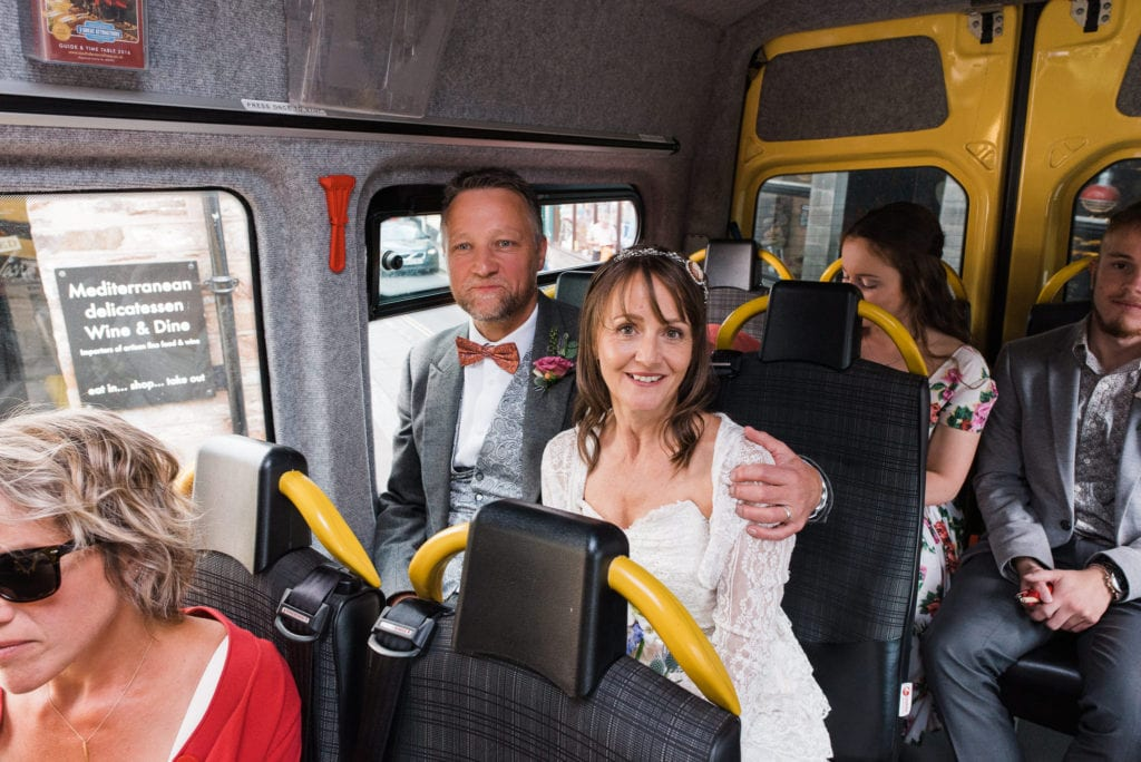 Bridal party on Bob the bus in Totnes
