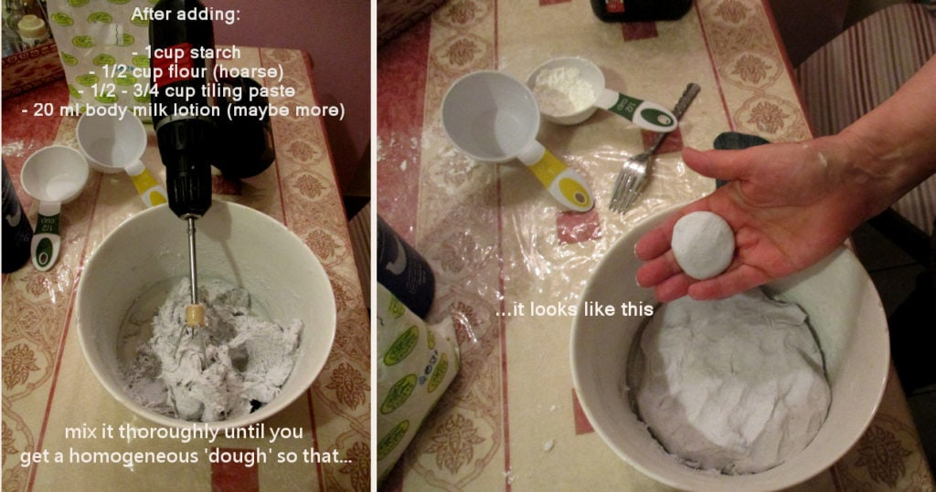 mix all ingredients to make paper clay without joint compound