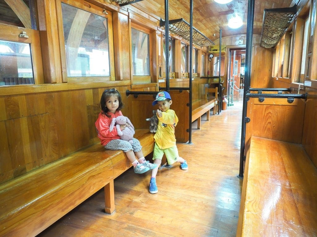 Wooden car on the Alishan Forest Railway, the best way to get around Alishan!