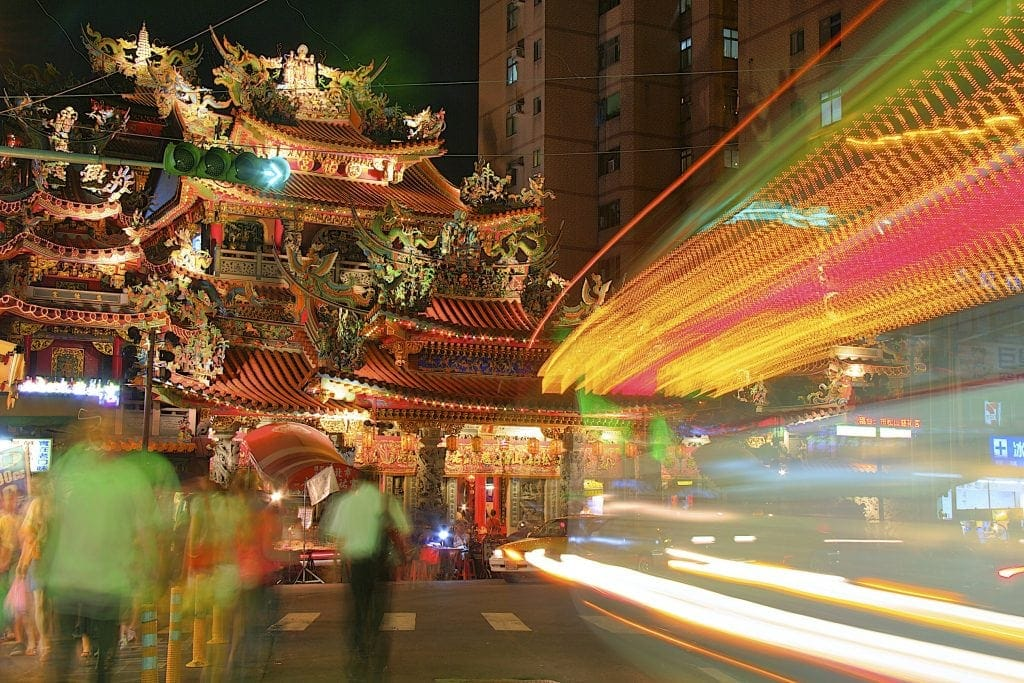 Songshan Matsu Temple at night