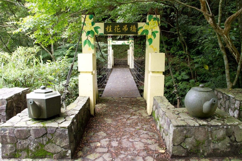 Bridge with tea pots in Jiuzhuang, Nangang, Taipei, Taiwan