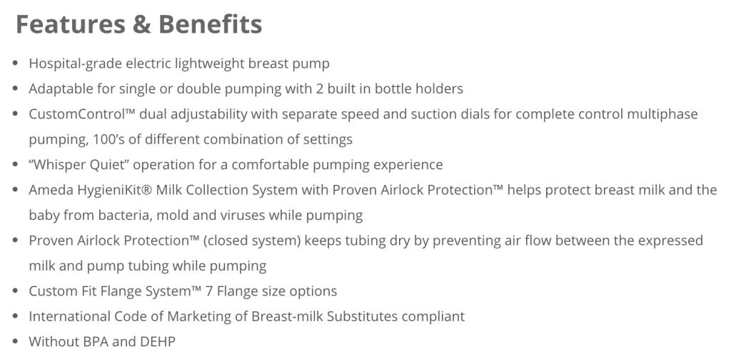 Ameda Elite Breast Pump Rental