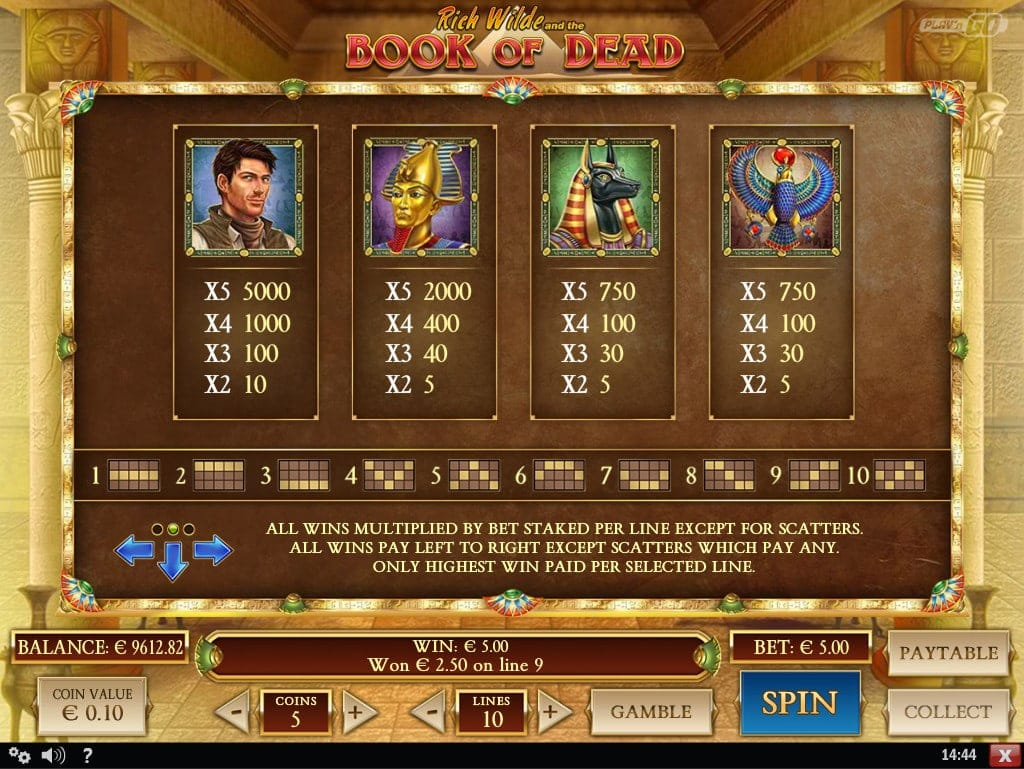 book of dead paytable symbols screenshot video slot play'nGo