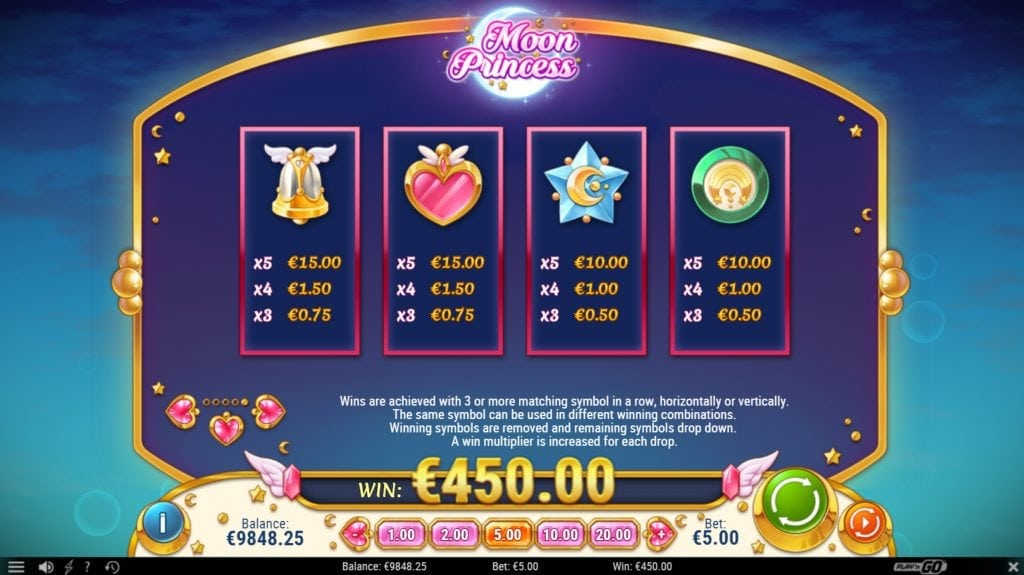 moon princess paytable symbols screenshot video slot play'nGo
