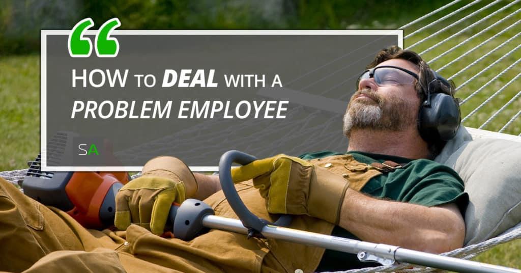 lawn worker relaxing outside