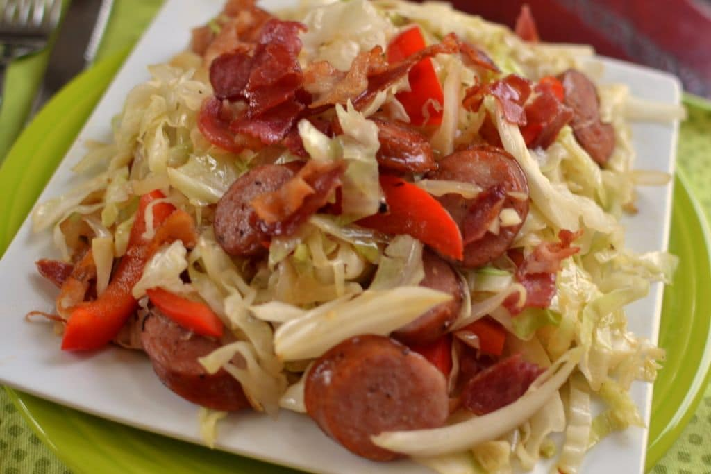 Cabbage Bacon Sausage Stir Fry (3)