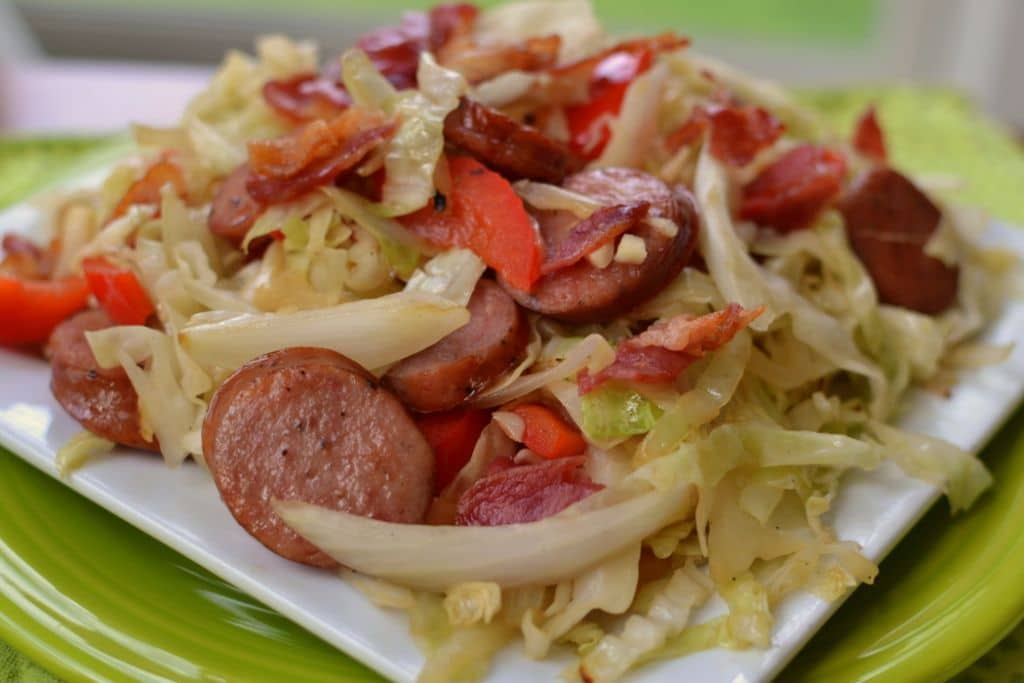 Cabbage Bacon Sausage Stir Fry (5)