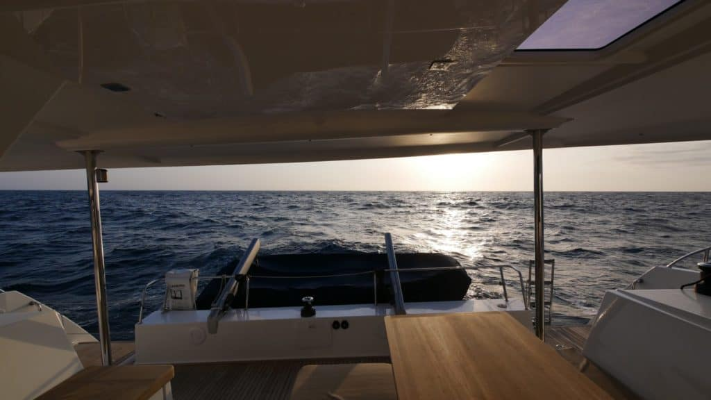 View out the cockpit of a Fountaine Pajot Helia 44