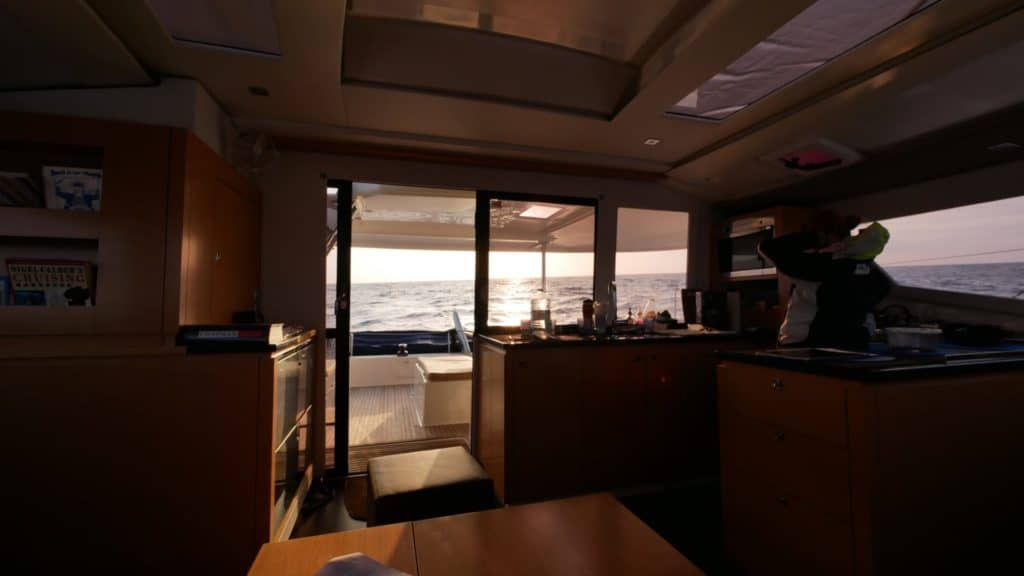Fountaine Pajot Helia 44 view out from salon