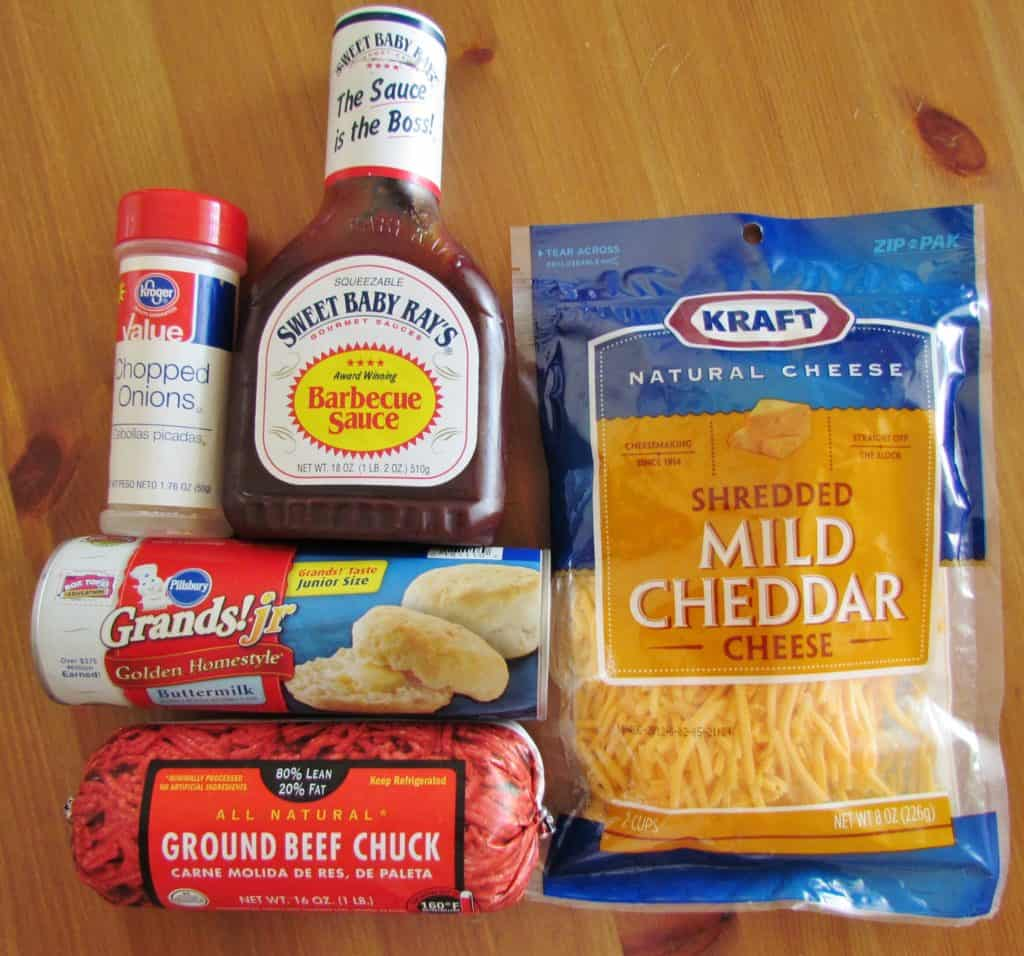refrigerated biscuits, ground beef, shredded cheese, barbecue sauce, onions