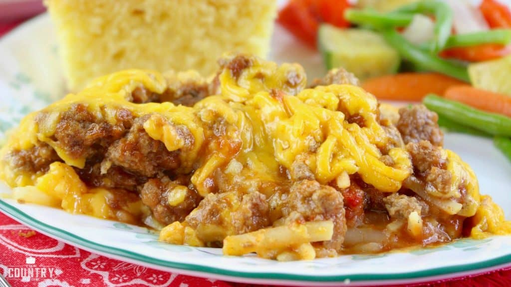 plated, slow cooker sloppy joe casserole with vegetables