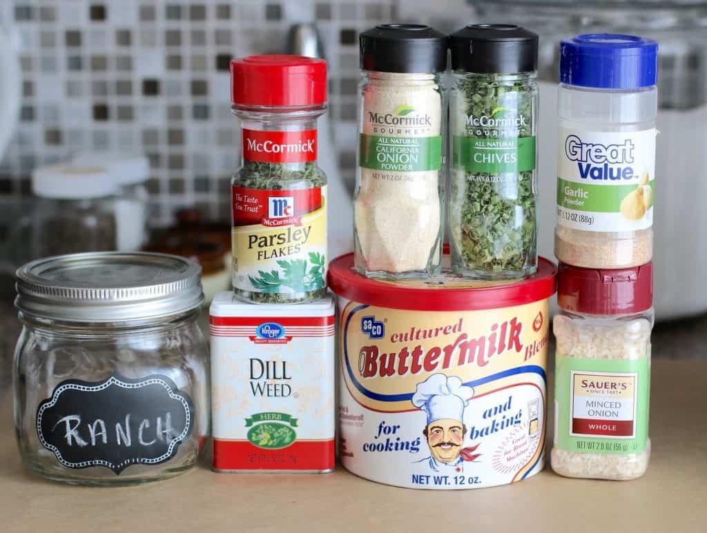 buttermilk powder, minced dried onion, garlic powder, chives, onion powder, parsley flakes, dill weed